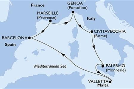 MSC Grandiosa - Francie, Itálie, Malta, Španělsko - Plavby.net
